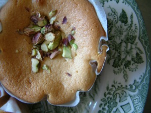 Spiced cardamon and pistachio cake